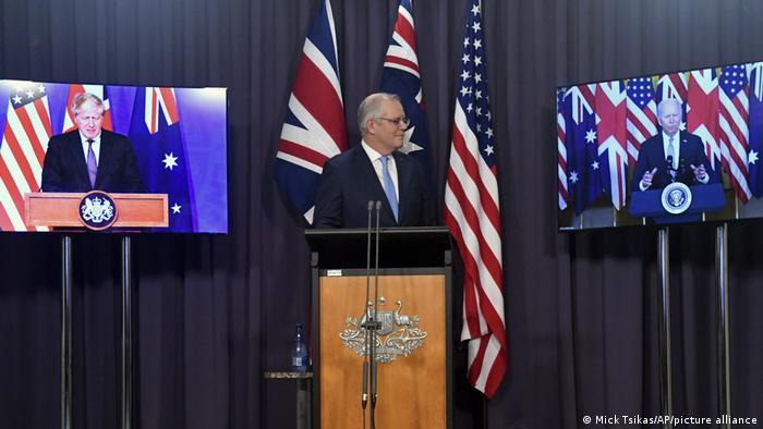 Australien USA l Videokonferenz mit PM Morrison, Präsident Biden, PM Johnson
