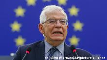14.9.2021,Straßburg***European Union foreign policy chief Josep Borrell delivers a speech on the situation in Afghanistan, at the European Parliament in Strasbourg, eastern France, Tuesday Sept.14 2021. (Julien Warnand, Pool Photo via AP)
