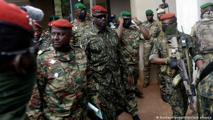 Guinea's Junta President Col. Mamady Doumbouya is heavily guarded by soldiers after a meeting with ECOWAS delegation in Conakry last week.