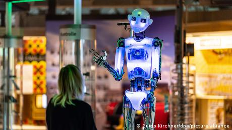 A robot on display at an artificial intelligence exhibit at the Heinz Nixdorf MuseumsForum in Germany