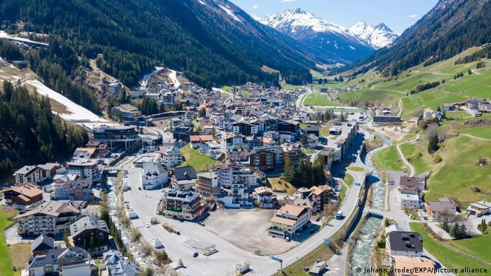 Aereal view of Ischgl, Austria
