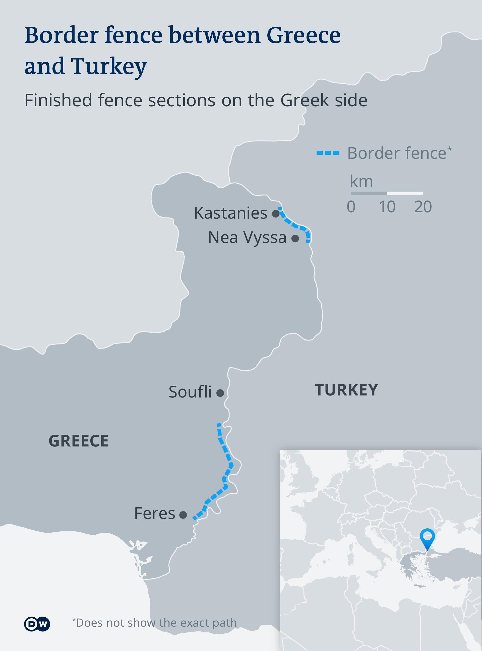 Graniţa terestră eleno-turcă este întărită pe alocuri printr-un gard