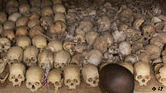 A man in Nyamata, 18 miles south of Kigali looks at hundreds of skulls at a memorial for victims of the 1994 genocide in Rwanda.