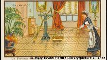 A maid operates a futuristic automated electric floor polishing machine -- housework made easy. (Jean Marc Cote)