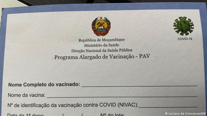 Mosambik   Coronavirus   Impfausweis Vorderseite