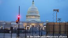 September 16, 2021, Washington, District of Columbia, USA: A fence again surrounds US Capitol in advance of 9/18 Justice for J6 rally. Thousands are expected to attend to call for the release of jailed January 6 insurrectionists. (Credit Image: © Sue Dorfman/ZUMA Press Wire