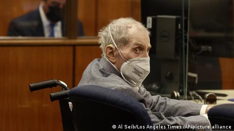 Robert Durst in a wheelchair during a court hearing