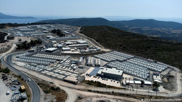 An ariel view of the new migrant holding center in Samos