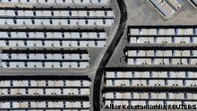 A partial view of a newly inaugurated closed-type migrant camp on the island of Samos, Greece, September 18, 2021. Picture taken with a drone. REUTERS/Alkis Konstantinidis