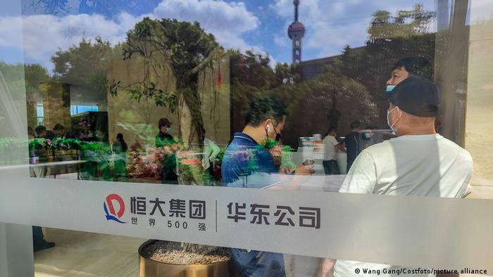 A protest by Evergrande investors in Shanghai