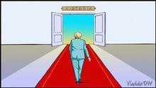 Karikatur von Vladdo Titel: Merkel, en la recta final. Schlagwörter: Angela Merkel, Deutschland, Wahlen. Die rechte hat die Deutsche Welle.