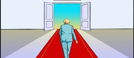 Karikatur von Vladdo I Merkel, en la recta final.