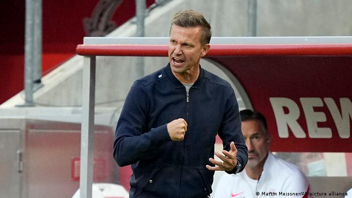 Leipzig's head coach Jesse Marsch reacts during the German Bundesliga soccer match against Cologne