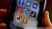 MOSCOW, RUSSIA - FEBRUARY 11: A smart phone screen displays social media platforms' application icons of Facebook, Instagram, Twitter, TikTok, VK, Odnoklassniki, YouTube and Telegram in Moscow, Russia on February 11, 2021. Sefa Karacan / Anadolu Agency