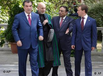 The presidents of Afghanistan, Pakistan, Tajikistan and Russia