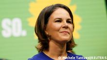 19.09.2021 Germany's candidate for chancellor Annalena Baerbock and co-leader of Germany's Alliance 90/The Greens party, reacts after speaking during a Party Congress event in Berlin, Germany, September 19, 2021. REUTERS/Michele Tantussi