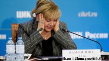 Ella Pamfilova, head of the Central Election Commission, reacts as she addresses the media after poll close in the Russian parliamentary election, at the commission's headquarters in Moscow, Russia September 19, 2021. REUTERS/Shamil Zhumatov