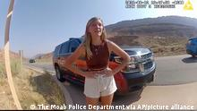 A police camera video from August 12 shows officers talking with Gabby Petito following a fight with her boyfriend