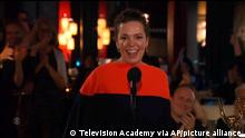 In this video grab issued Sunday, Sept. 19, 2021, by the Television Academy, Olivia Colman accepts the award for outstanding lead actress in a drama series for The Crown during the Primetime Emmy Awards. (Television Academy via AP)