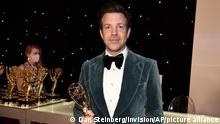 Jason Sudeikis, winner of the award for outstanding lead actor in a comedy series for Ted Lasso poses for a photo at the 73rd Emmy Awards at the JW Marriott on Sunday, Sept. 19, 2021 at L.A. LIVE in Los Angeles. (Photo Dan Steinberg/Invision for the Television Academy/AP Images)
