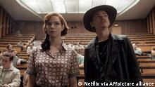 This image released by Netflix shows Anya Taylor-Joy, left, and Thomas Brodie-Sangster in a scene from The Queen's Gambit. Taylor-Joy was nominated for an Emmy Award for outstanding leading actress in a limited series or movie and Brodie-Sangster was nominated for best supporting actor in a limited series or movie. (Netflix via AP)