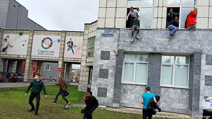 Students jumping out of windows to escape