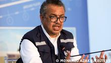 FILE PHOTO: FILE PHOTO: World Health Organization (WHO) Director-General Tedros Adhanom Ghebreyesus, gestures during a news conference in Beirut, Lebanon September 17, 2021. REUTERS/Mohamed Azakir/File Photo/File Photo
