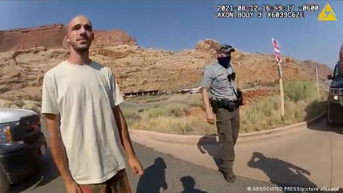 Brian Laundrie is seen in this still of a police camera video