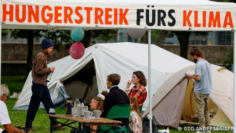 Climate activists on hunger strike at a camp outside the German parliament building in Berlin