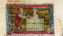 Lancelot rescatando a una dama de una bañera: el manuscrito forma parte de un grupo de textos denominado Ciclo de la Vulgata (foto) o Ciclo de Lancelot-Grail.