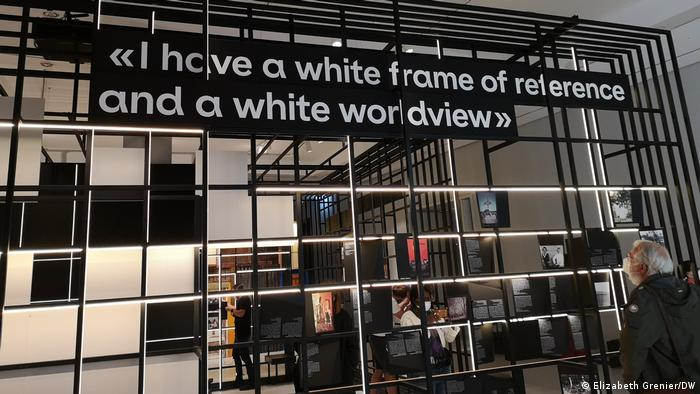 An installation with the quote I have a white frame of reference and a white worldview