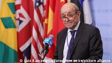 United Nations, New York, USA, July 16, 2021 - Jean-Yves Le Drian, Minister for Europe and Foreign Affairs of France and and President of Security Council for the month of July, briefs reporters after the Security Council meeting on protection of civilians in armed conflict, with a focus on preserving humanitarian space today at the UN Headquarters in New York City. Photo: Luiz Rampelotto/EuropaNewswire PHOTO CREDIT MANDATORY.