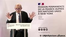 In this photo taken from video, France's Foreign Minister Jean-Yves Le Drian speaks during a news conference, Monday, Sept. 20, 2021, in New York. (Permanent Mission of France to the United Nations via AP)