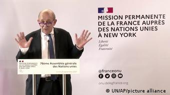 Ο Γάλλος υπουργός Εξωτερικών στη συνέντευξη τυπου στη Νέα Υόρκη