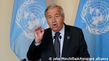 Antonio Guterres, Secretary General of the United Nations, speaks to reporters after a meeting with British Prime Minister Boris Johnson for climate change discussions at United Nations headquarters, Monday, Sept. 20, 2021, during the 76th Session of the U.N. General Assembly in New York. (AP Photo/John Minchillo, Pool)
