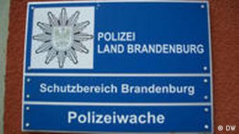 Close-up of a sign at the police station in the town of Brandenburg/Havel