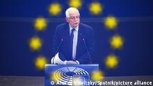 14.09.2021 6650759 14.09.2021 High Representative of the European Union for Foreign Affairs and Security Policy Josep Borrel speaks at a plenary session of the European Parliament in Strasbourg, France. Alexey Vitvitsky / Sputnik