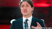 21.09.2021 Canadian Prime Minister Justin Trudeau delivers his victory speech after general elections at the Fairmount Queen Elizabeth Hotel in Montreal, Quebec, early on September 21, 2021. - Canadians returned Liberal Prime Minister Justin Trudeau to power on September 20 in hotly contested elections against a rookie conservative leader, but he failed to gain an absolute majority, according to projections by television networks. (Photo by Andrej Ivanov / AFP) (Photo by ANDREJ IVANOV/AFP via Getty Images)