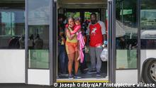 19.09.2021 Haitians who were deported from the United States arrive at the Toussaint Louverture International Airport, in Port au Prince, Haiti, Sunday, Sep. 19, 2021. Thousands of Haitian migrants have been arriving to Del Rio, Texas, to ask for asylum in the U.S., as authorities begin to deported them to back to Haiti. (AP Photo/Joseph Odelyn)