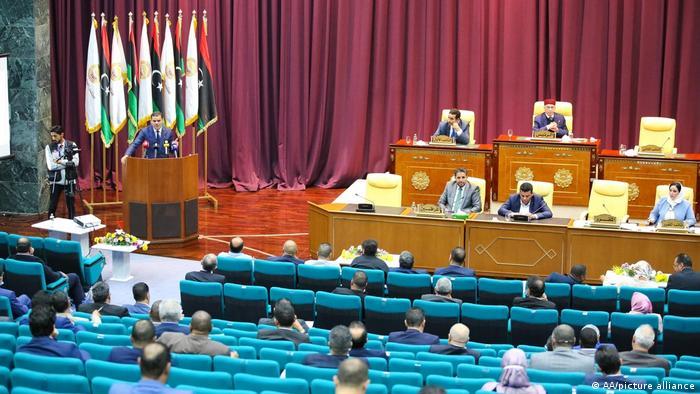 Libyan unity government premier Abdul Hamid Dbeibeh speaks at parliament