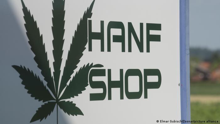 A sign for a hemp shop in Germany