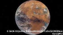 Artist's rendition of a Mars with Earth-like surface water. Image source: NASA EO/Joshua Stevens; NOAA; JPL-Caltech/USGS; Sean Garcia/WU