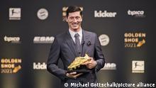 Robert Lewandowski on during Golden Shoe 2021 ceremony. Munich, 21.09.2021.