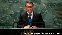 Brazil's President Jair Bolsonaro addresses the 76th Session of the U.N. General Assembly, Tuesday, Sept. 21, 2021, at United Nations headquarters in New York. (Eduardo Munoz/Pool Photo via AP)