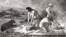 Making bread during the Neolithic Age aka New Stone Age or Age of the Polished Stone. From L'Homme Primitif, published 1870.