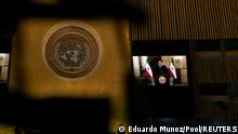 Iran's President's Ebrahim Raisi remotely addresses the 76th Session of the U.N. General Assembly by pre-recorded video in New York City, U.S., September 21, 2021. REUTERS/Eduardo Munoz/Pool