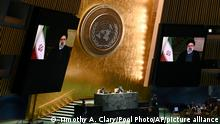 Iran's President President Ebrahim Raisi remotely addresses the 76th session of the United Nations General Assembly in a pre-recorded message, Tuesday, Sept. 21, 2021 at UN headquarters. (Timothy A. Clary/Pool Photo via AP)