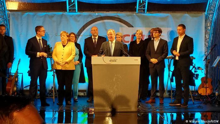 Deutschland   Wahlkampfveranstaltung Merkel und Laschet