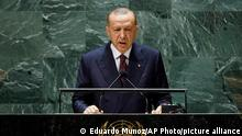 Turkey's President Recep Tayyip Erdogan addresses the 76th Session of the U.N. General Assembly at United Nations headquarters in New York, on Tuesday, Sept. 21, 2021. (Eduardo Munoz/Pool Photo via AP)
