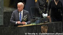 President Joe Biden steps away after addressing the 76th Session of the United Nations General Assembly at U.N. headquarters in New York on Tuesday, Sept. 21, 2021. (Timothy A. Clary/Pool Photo via AP)